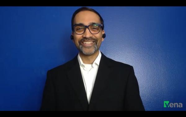 Screenshot of Ryan Patel from his Vena Nation keynote presentation.