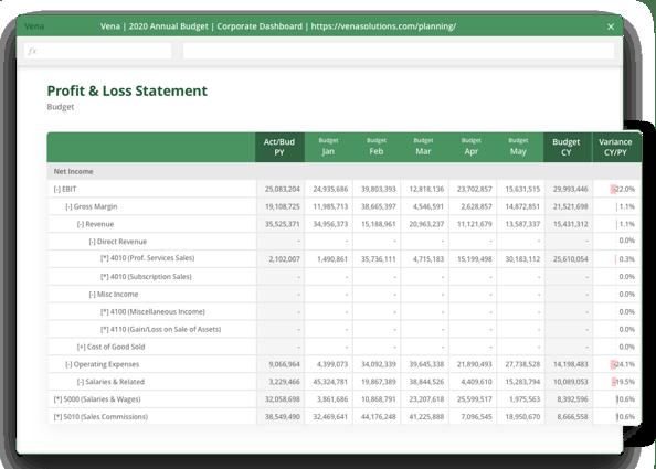 Profit and loss statement screenshot.