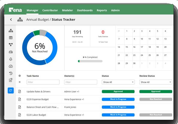 Screenshot of status tracker from vena.io