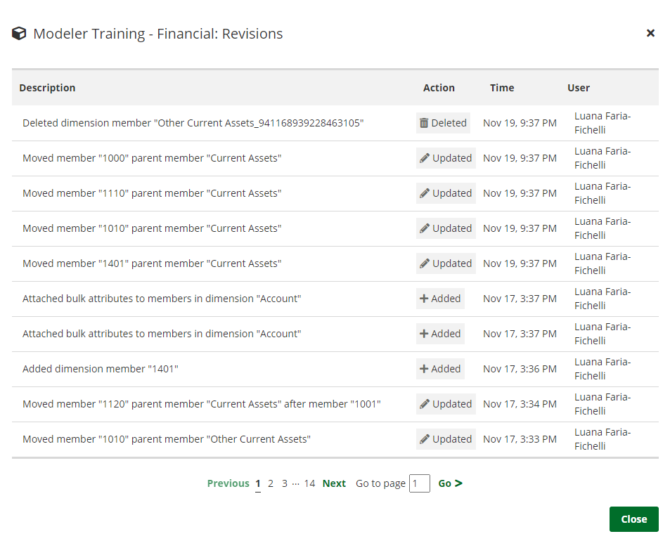revisions tracking window