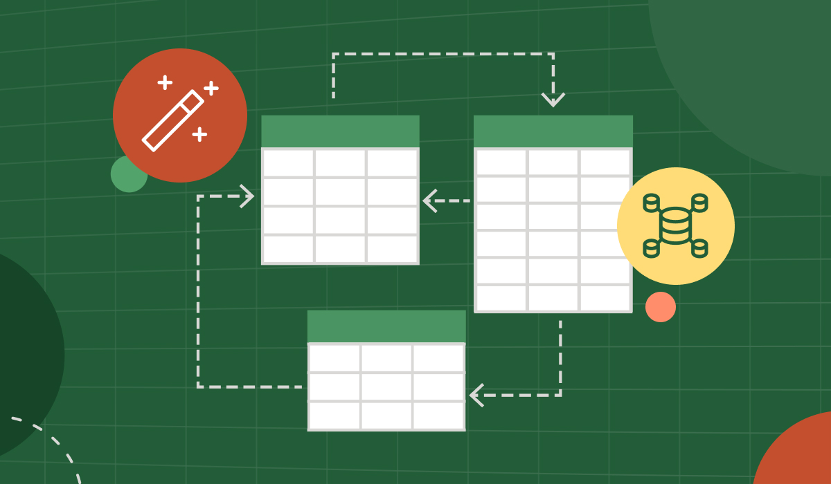 Three Excel graphs and two icons in a layout.