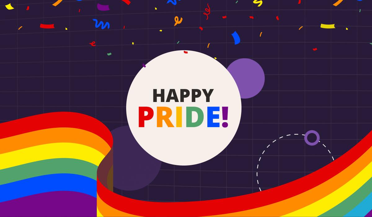 Pride rainbow background with Happy Pride! message