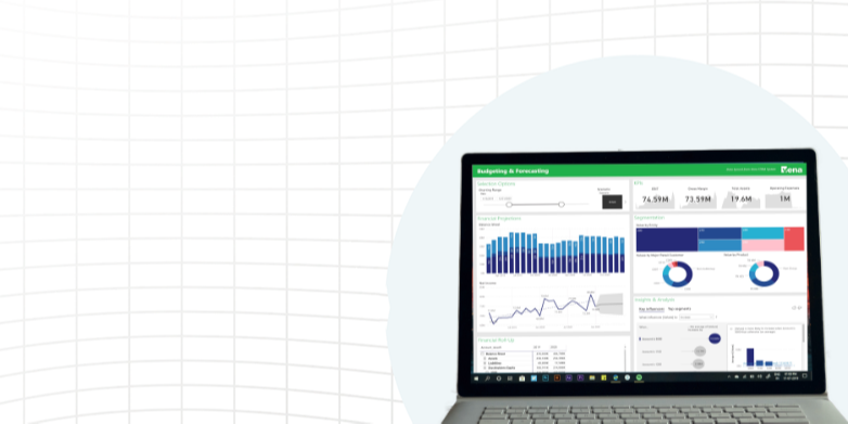 Laptop with power BI graphs on the screen; entire image on grid background.