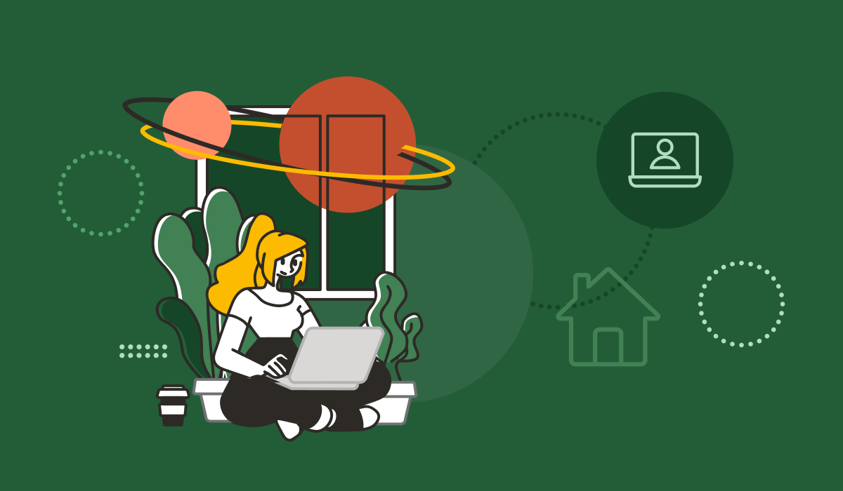 Cartoon image of a woman working from a home office.