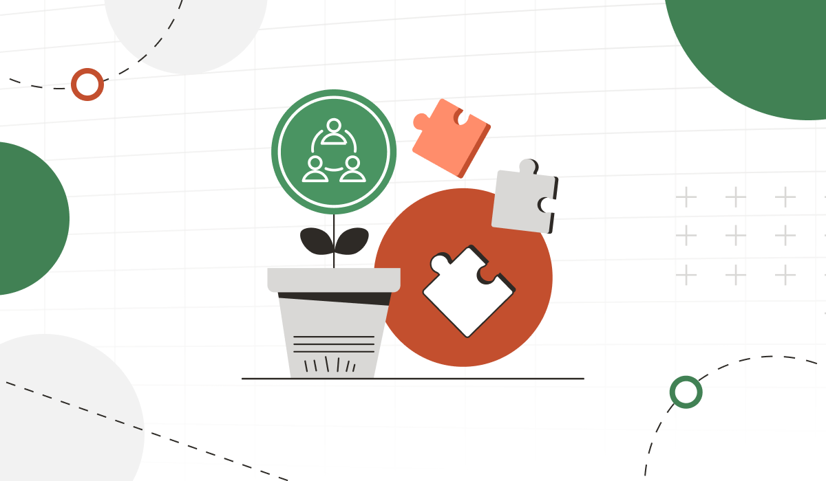 Animated plant image and puzzle pieces with diversity icon.