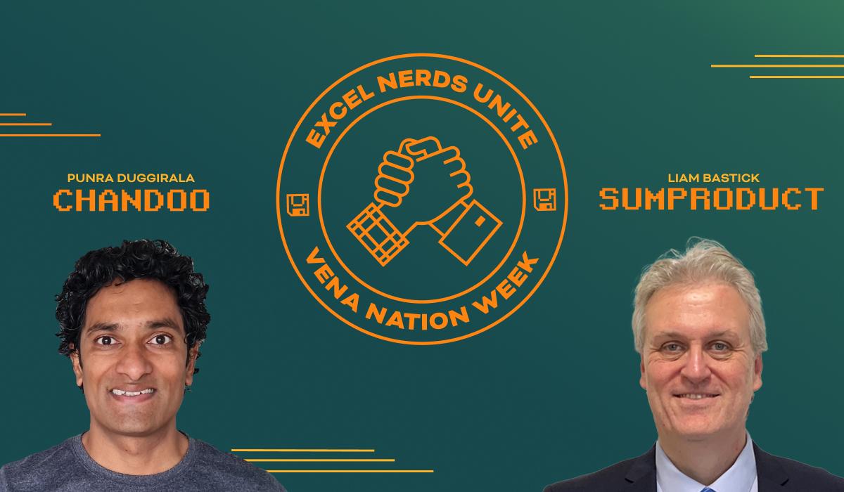 Headshots of Chandoo and Liam Bastick. Excel Nerds Unite logo.