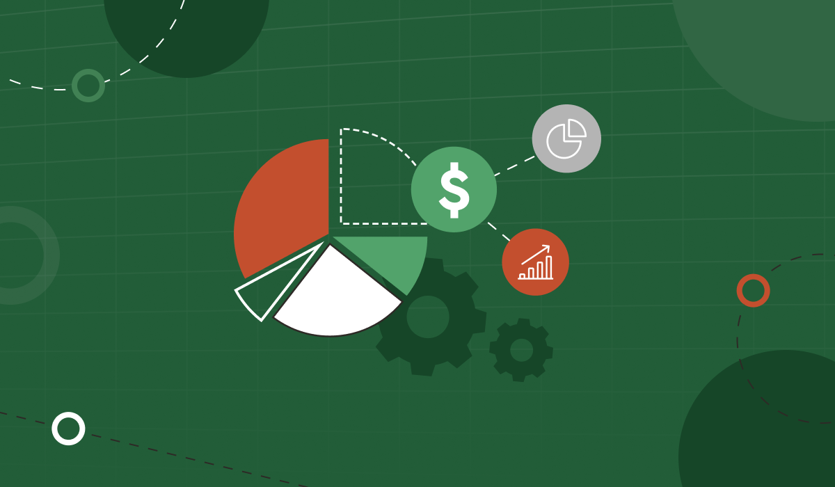 Graphic pie chart with icon indicating currency, and graph showing growth