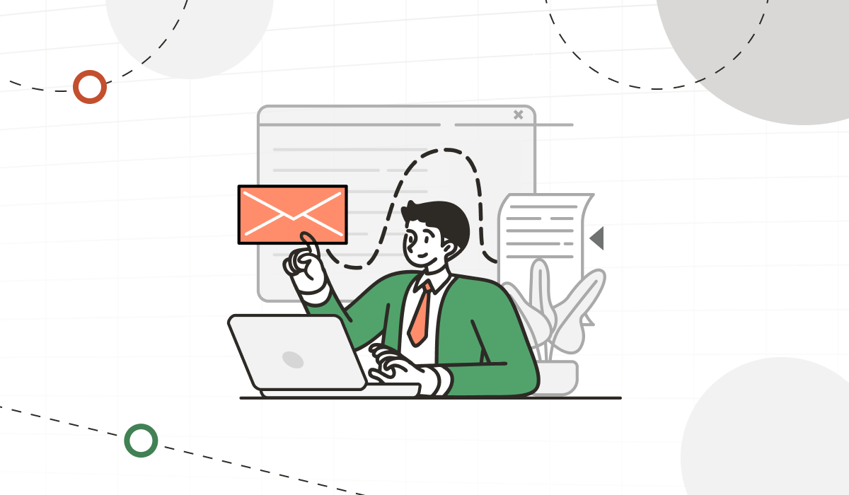 An illustration of a man sitting at his desk, wearing a green blazer and orange tie. He is on his laptop and is opening what seems to be an email.