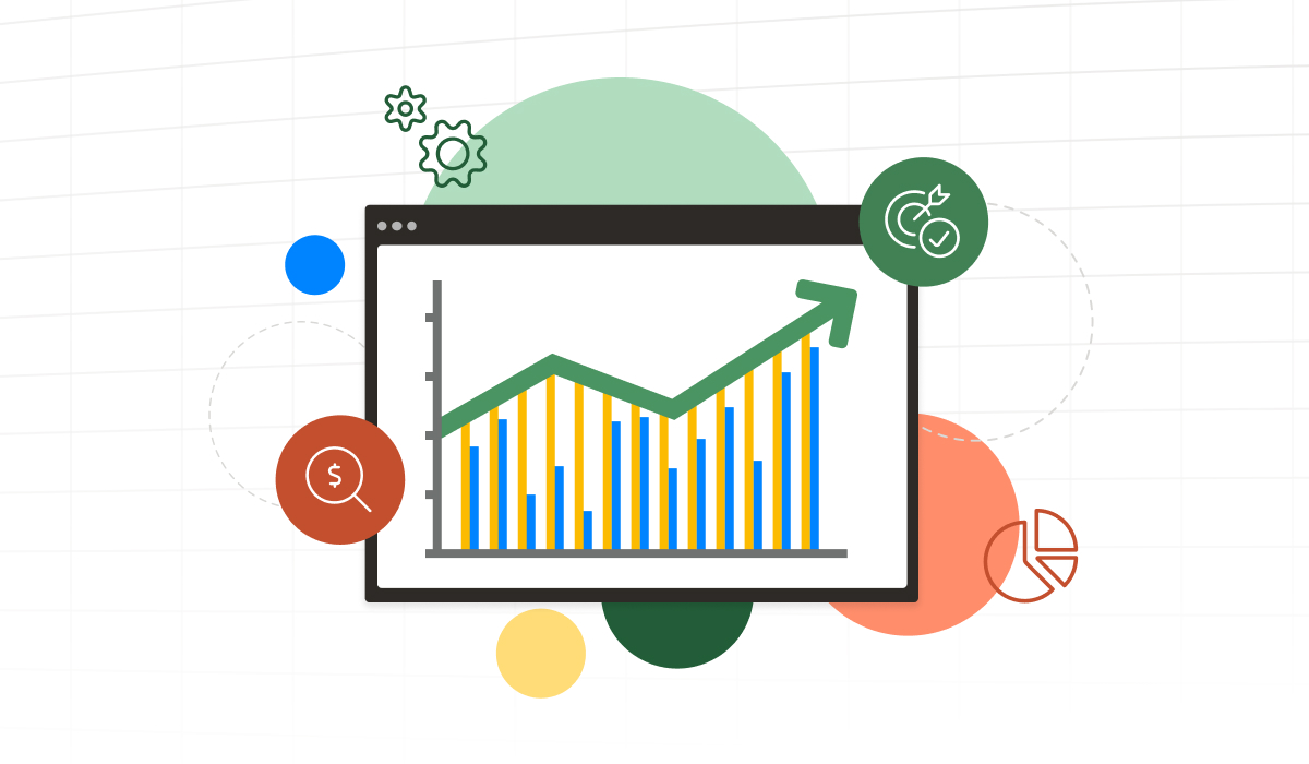 Chart that is increasing in growth with a target icon.