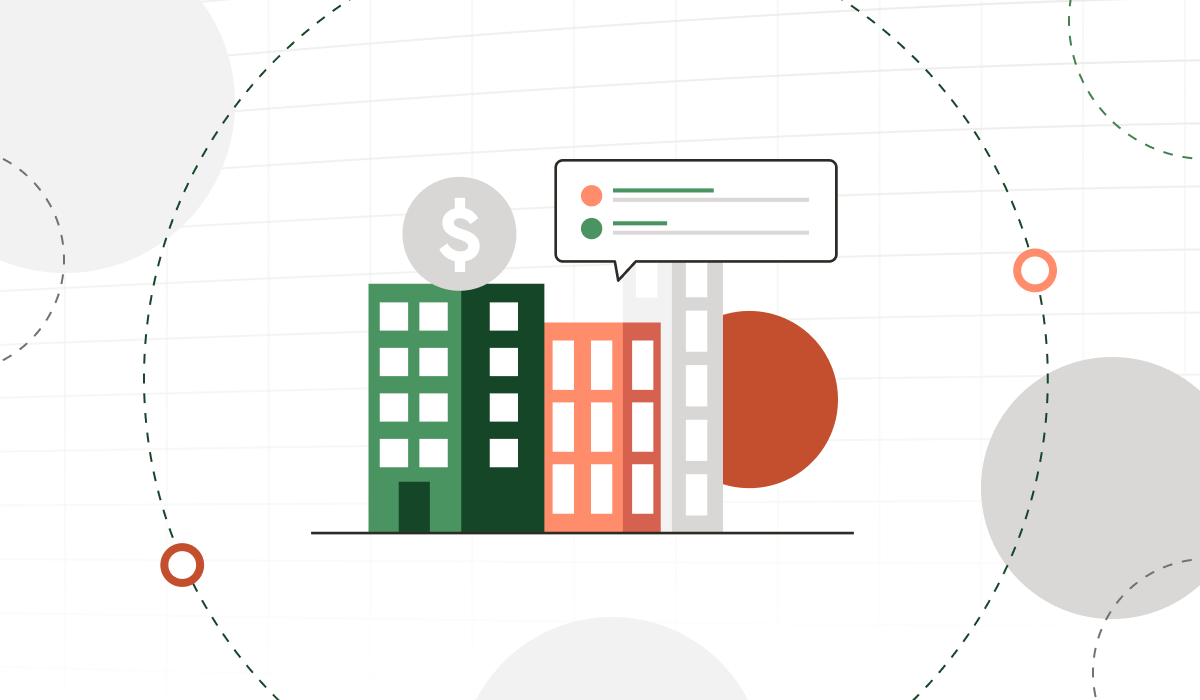 Buildings with money icon and quote bubble.