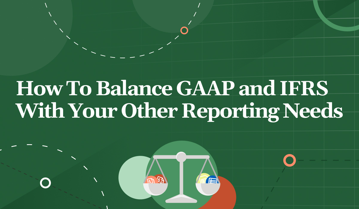 Green graphic with a balance holding reporting sheet icons on both sides, title reads