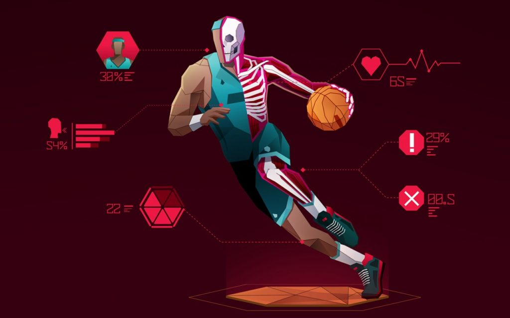 Animated basketball player—half human, half skeleton—dribbling a ball with labels showing stats like hear rate.