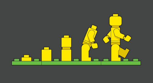 Animated lego pieces in different stages, bulling up to a person shape.