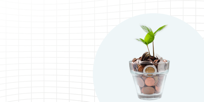 Pot of coins with a plant growing out of it.
