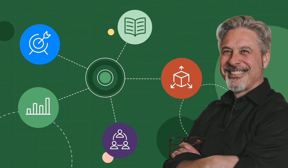Photo of Vena CFO Darrell Cox and 5 icons representing his 5 agile principles.