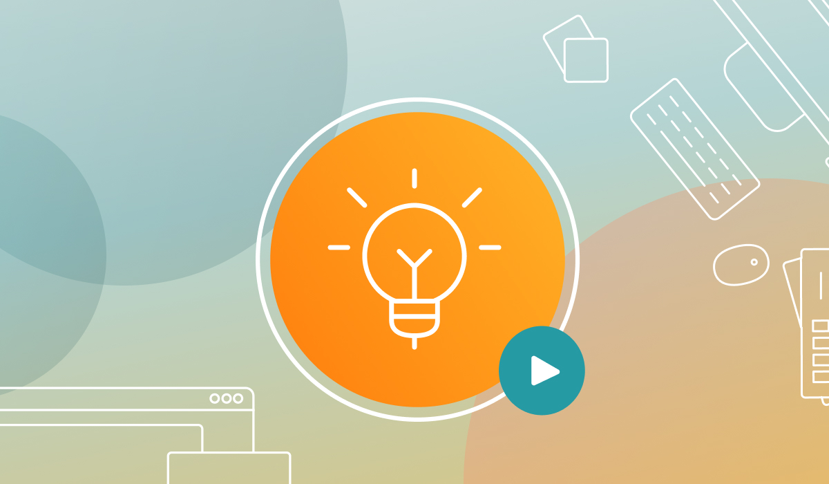 Light bulb icon with a gradient background and illustrations.