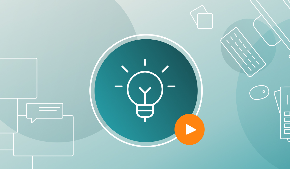 A graphic with a teal circle and lightbulb in the middle, and an orange play button.