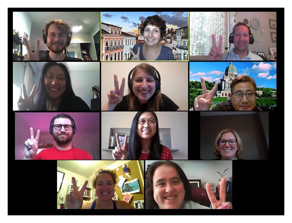 Members of the va11y team in a virtual meeting