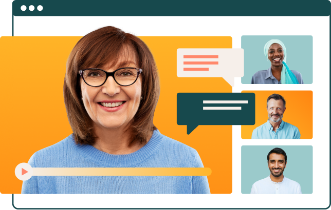 Stylized banner of 4 employees in a zoom meeting.