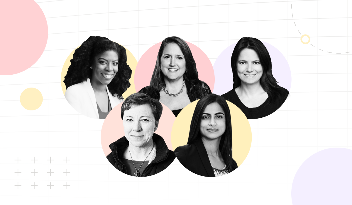 Image with headshots of 5 Women Leaders in Finance