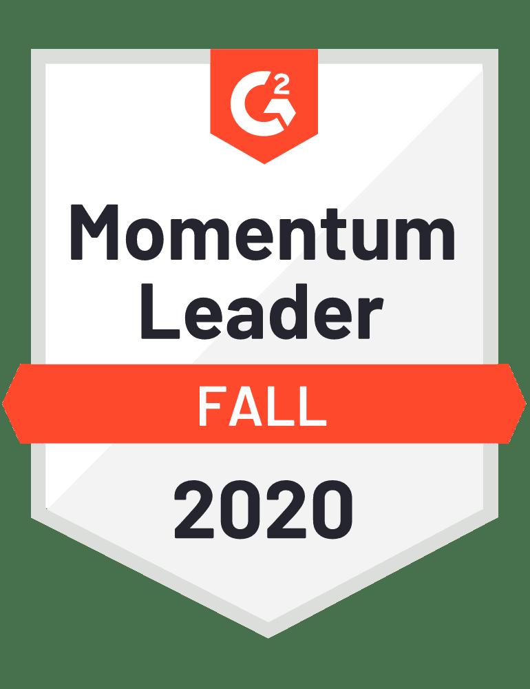 G2 badge: Momentum Leader - Fall 2020.