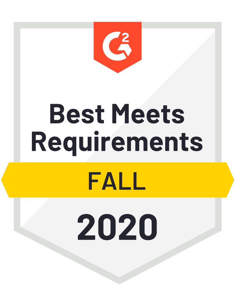 G2 badge: Best meets requirements - Fall 2020.