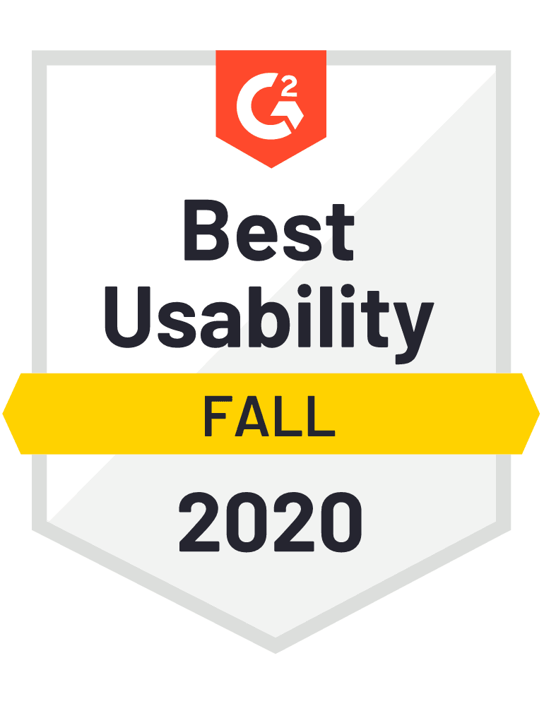 G2 badge: Best Usability - Fall 2020.
