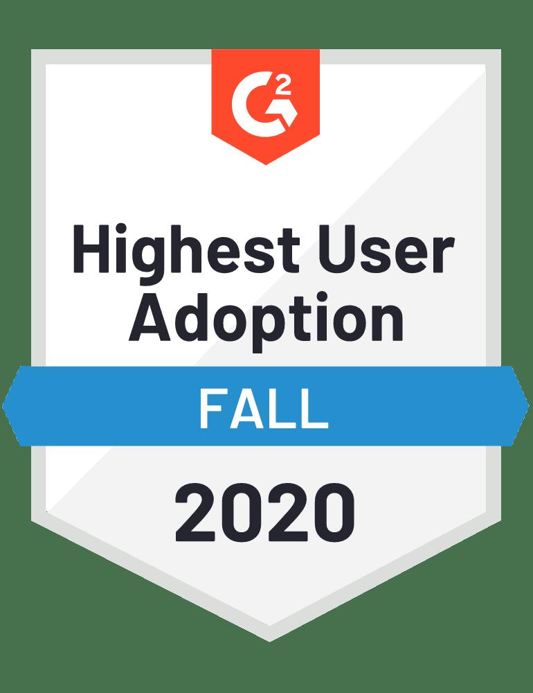 G2 badge: Highest User Adoption - Fall 2020.