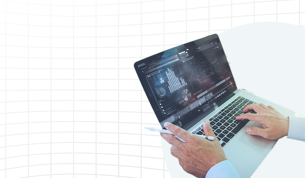 Graphic on a white grid background depicting a laptop computer screen with multiple charts on it with two hands on the keyboard.