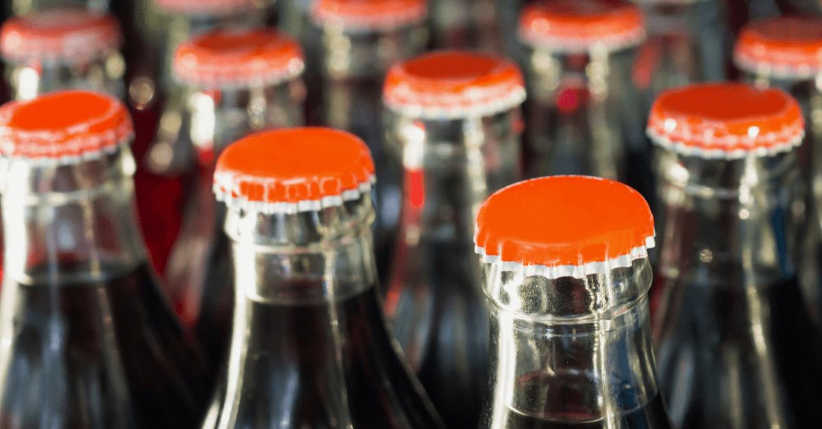 Top of glass coke bottles